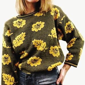 Vintage 80's Leaf Yellow & Black Pullover Sweater